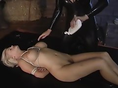 Blonde, Bondage, Latex, Lesbian, Massage