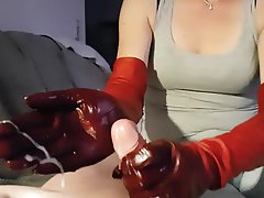 German, Handjob, Gloves