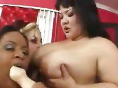 BBW, Big Boobs, Lesbian, Strapon